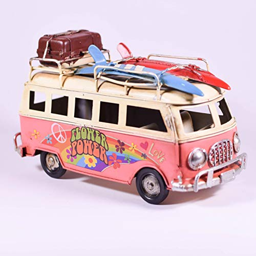 EliteTreasures Retro Metal Collectible Pink Hippie Van Model - Camper Beach Bus Figurine - Flower Power Classic Tabletop Ornament