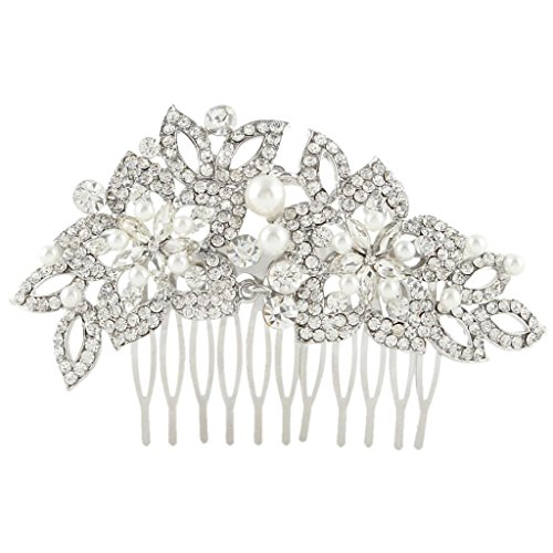 EVER FAITH Wedding Silver-Tone Teardrop Simulated Pearl Hair Comb Clear Austrian Crystal -