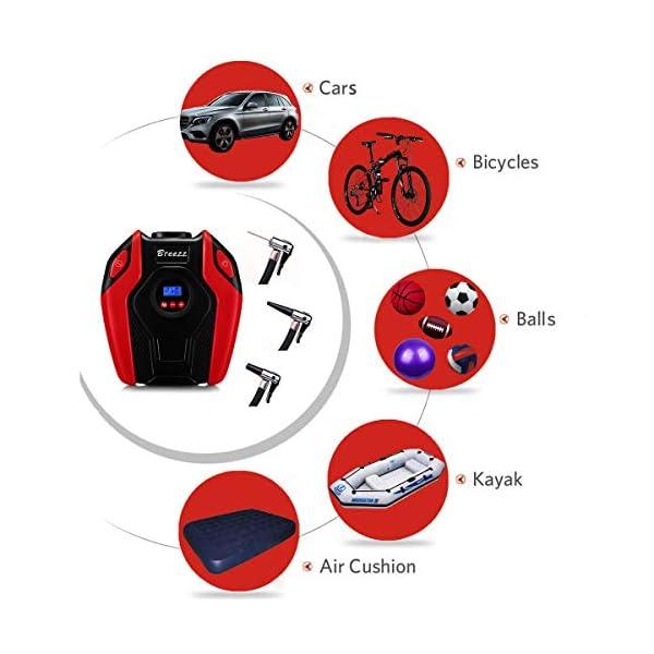 Breezz inflador de neumáticos, Bomba de compresor de Aire, Bomba de neumático portátil de 12 V DC con indicador Digital…