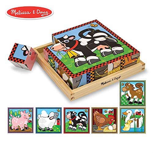 Melissa & Doug Farm Cube Puzzle, Preschool Kids, Six Puzzles in One, Sturdy Wooden Construction, 16 Cubes and Wooden Tray, 8
