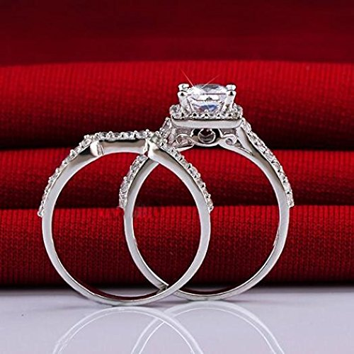 Ameesi-2X-Womens-925-Faux-Sterling-Silver-Princess-Cut-Engagement-Wedding-Bridal-Ring-Set
