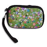 Women Wallets Flower Garden With Green Glass Wristlet Zipped Clutch Wrist bag
