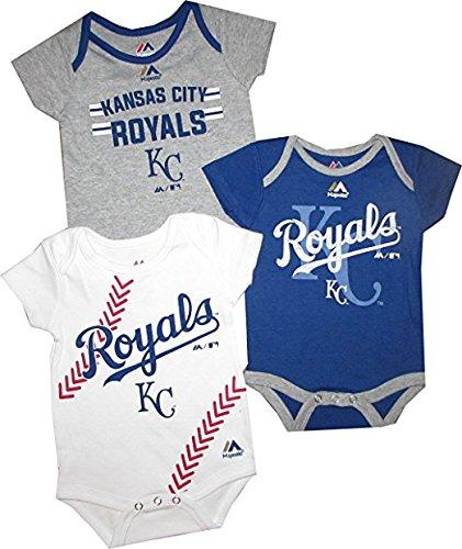 Outerstuff Kansas City Royals Baby/Infant Three Strikes 3 Piece Creeper Set 3-6 -