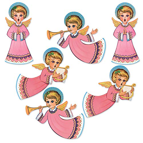 Beistle 20058 Vintage Christmas Glittered Angel Cutouts 6 Piece, 14.5