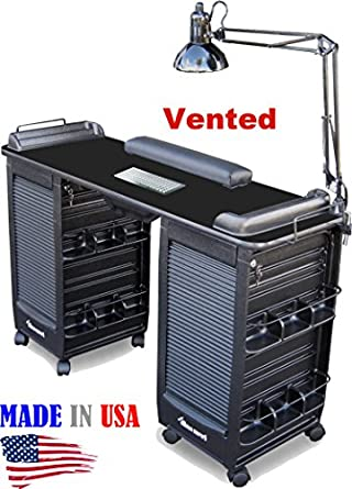 351-V Vented Manicure Nail Table Double Cabinet Black Lam Top by Dina Meri