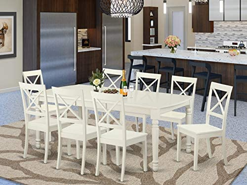 Amazon Com East West Furniture Dobo9 Lwh W 9 Pcs Modern Dining Table Set 8 Excellent Dining Chairs A Beautiful 4 Legs Dining Table Linen White Wooden Seat And Linen White Butterfly Leaf Dinner