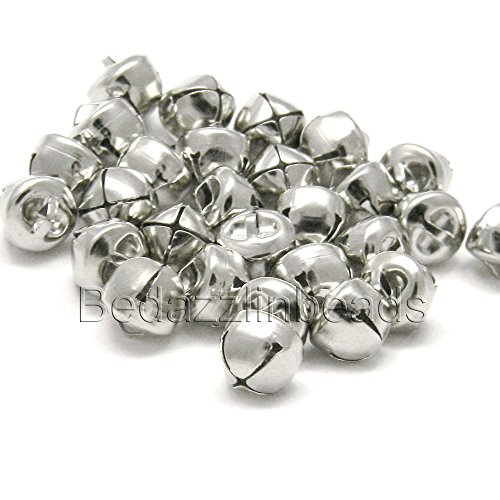 50 Round 10mm 3/8 inch Iron Craft Jingle Bells With Loop to Use as Dangle Charms (Silver)