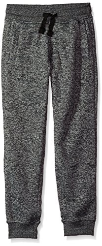 Southpole Big Boys' Jogger Fleece Pants in Basic Colors, Marled Grey(New/Logo Patch), Medium (Boys Sweatpants Size 18)