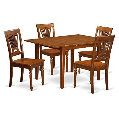 Butterfly Table And Chair Set (East West Furniture MLPL5-SBR-W 5-Piece Kitchen Nook Dining Table Set)