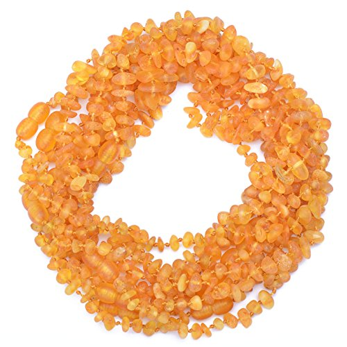 Amber Wholesale – 10 Raw Hand Made Baltic Amber Teething Necklace for Babies – Safety Knotted – Genuine Amber