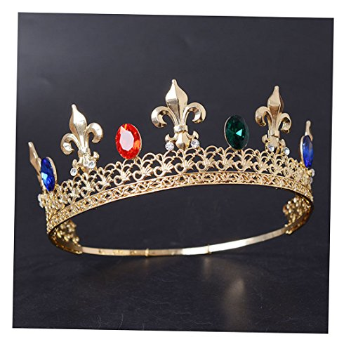 FF Men Tiara King's Crown Blue Red Crystal Adjustable Round Tiara