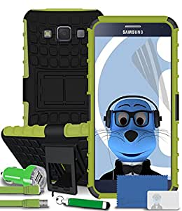 iTALKonline Samsung Galaxy A3 SM-A300F Green Black Tough Hard Shock Proof Rugged Heavy Duty Case Cover with Viewing Stand LCD Screen Protector 2000 mAh Dual Car Charger Adapter and MicroUSB Flat Charging Data Cable