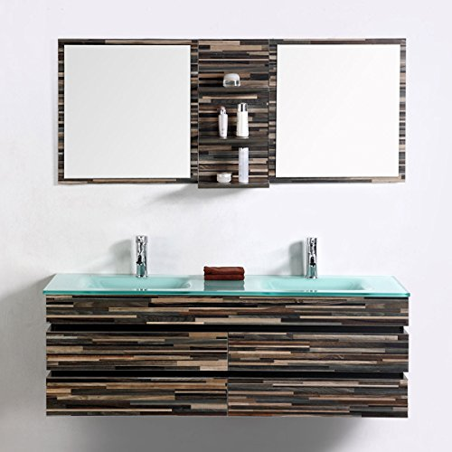 Decoraport 55 In. Wall Mount Bathroom Vanity Set With Double Glass Sink and Mirror (VS-8861) For Sale
