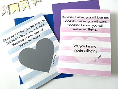 Will You Be My Godmother and Godfather Scratch Off Poem Card, Set of 2