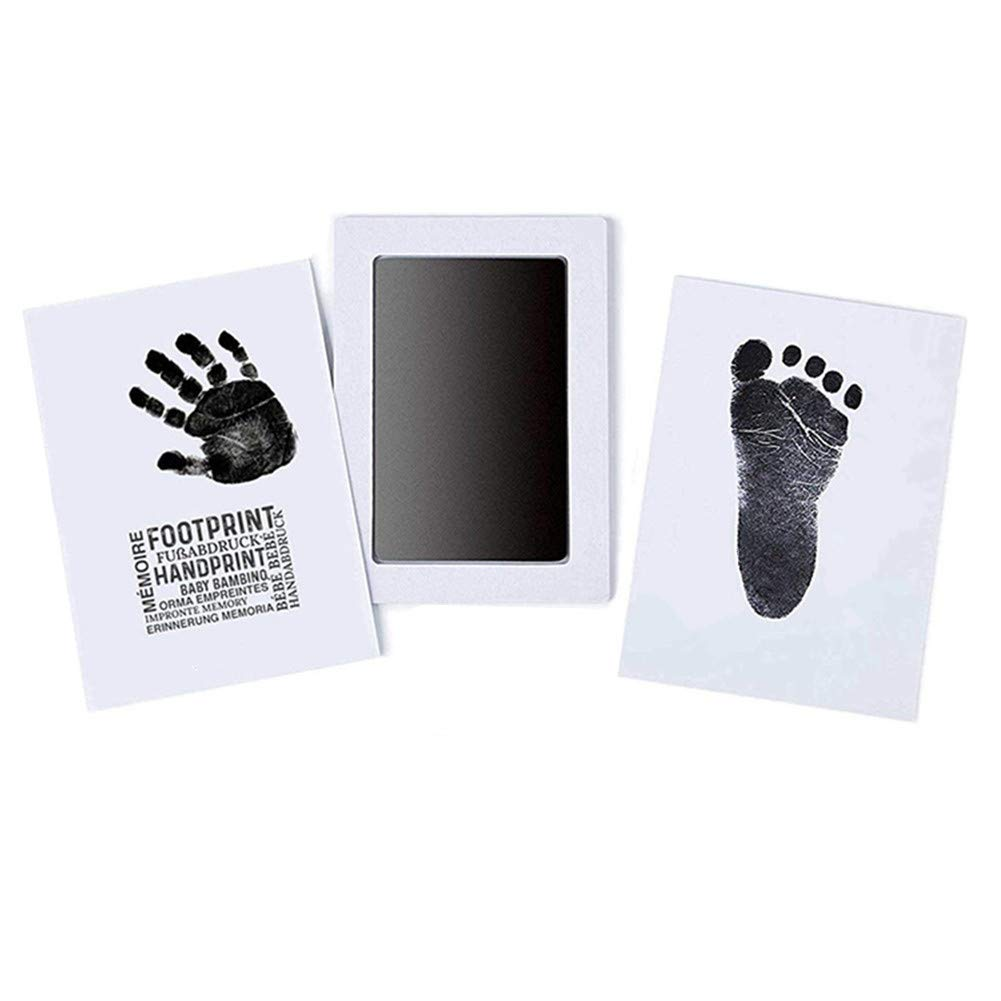 "Large Safe Inkless""Clean-Touch""Handprint and Footprint Ink Pad with 2 Imprint Cards, 100% Non-Toxic & Mess Free Safe for Newborn Baby and Toddlers (Black)"