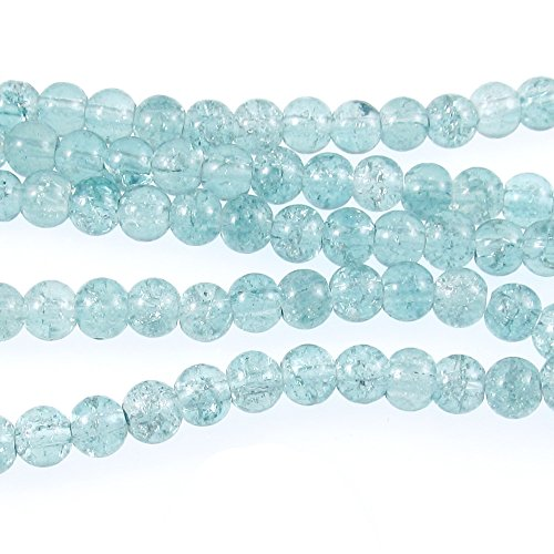 Round Glass Crackle Beads-Teal Blue 6mm (100 Pcs)