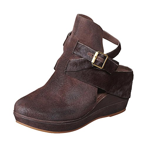 Antelope Women's 459 Coffee Calf Hair Leather Hi Front Buckle Wrap 40