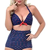 American Trends Women's Vintage Polka Dot High Waisted Bikini Set Swimsuits