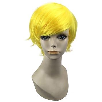 HYISHION Short Straight Anime Cosplay Peluca Disfraz De Halloween, Unisex Golden Blonde,C