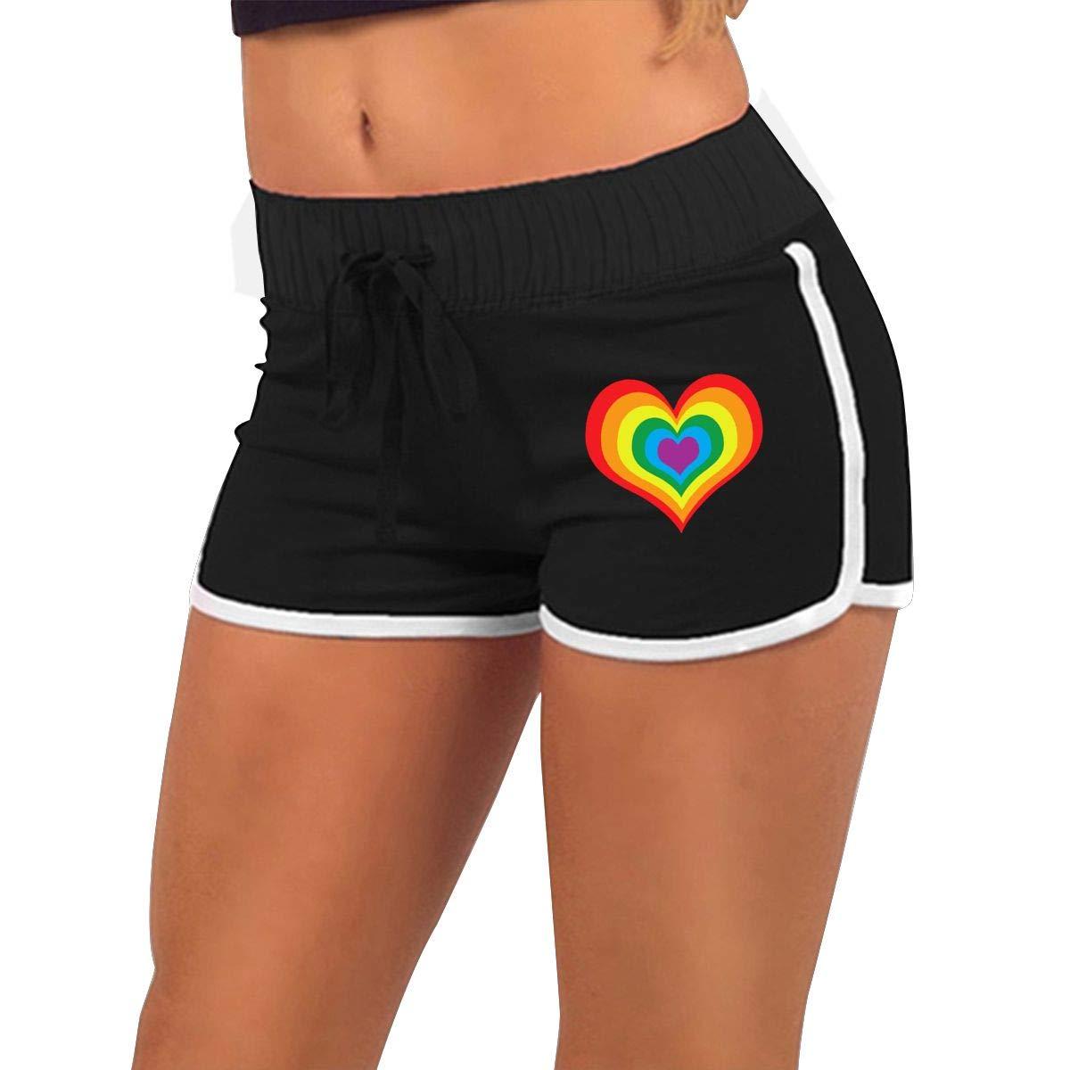 Womens Fashion Rainbow Heart LGBT Jogger Sweatpant Athletic Gym Hot Shorts