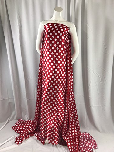 Red White 1inch Polka Dot Silky Charmeuse Satin Fabric. Sold By The (Red Polka Dot Satin)