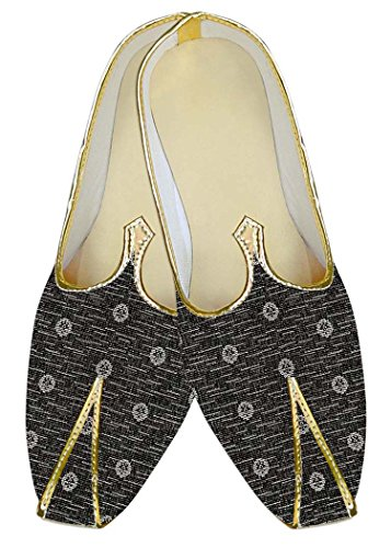 Inmonarch Mens Gris Polyester Chaussures De Mariage Blanc Fleur Mj10570 Gris Foncé