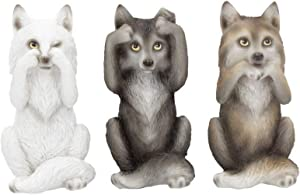 Nemesis Now B4472N9 Three Wise Wolves 10cm Figurine, Resin, Grey, One Size