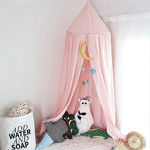 Great Deal! Mosquito Net Canopy,Dome Princess Bed Cotton Cloth Tents Childrens Room Decorate for Bab...
