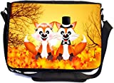 Rikki Knight Red Foxes in Love Wedding Illustration Design Multifunctional Messenger Bag - School Bag - Laptop Bag - with Padded Insert for School or Work - Includes Matching Compact Mirror