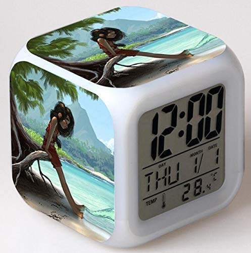 LAJKS Movie Moana Led Alarm Clock with Action Figure Moana and Maui HEI HEI Pig Decoration Clock for Children Toy Holiday Must Haves Friendship Gifts The Favourite Comic (Pig Clock Bank)