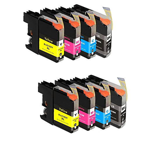 HOTCOLOR 8-Pack (2Bk/2C/2M/2Y) Compatible Replacement Inkjet Cartridges for LC-101 LC-103 LC-103 XL for Use with Brother MFC-J470DW MFC-J4710DW MFC-J475DW MFC-J650DW