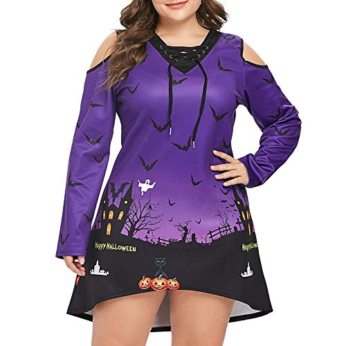 Women Plus Size Terror Night Sky Bat Cold Shoulder Halloween Short Mini Dress]()