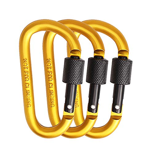 NADAMOO 3 Pack Aluminum Carabiner D Shape Buckle Screw Locking Spring Loaded Clip Durable Strong and Lightweight Snap Hook Keychain for Camping Hiking Fishing Traveling Backpack Bottle-Yellow