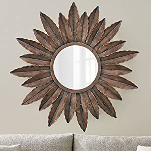 Collectible India Metal Handmade Mirror Wall Mounted 3D Art Sculpture Decor Hanging Attached Wall Hanger(Size: 30 x 30 Inches)