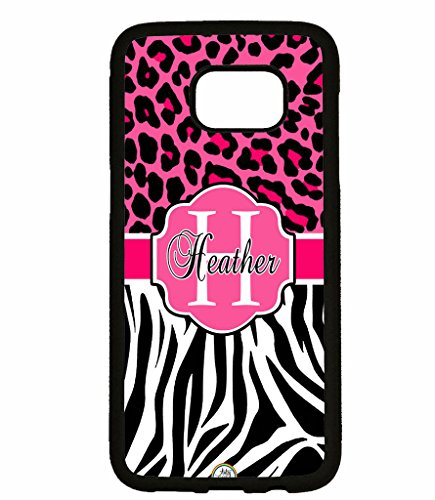 Galaxy Note 8 Case, ArtsyCase Pink Cheetah Leopard Pink Hot Pink Zebra Monogram Personalized Name Phone Case for Samsung Galaxy Note 8 (Black)