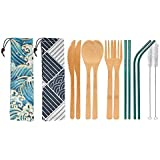 UPTRUST 2 Set Bamboo Cutlery Set Bamboo travel Utensils reusable bamboo utensils with case, 7.8 Inches Bamboo Knife, Fork, Sp