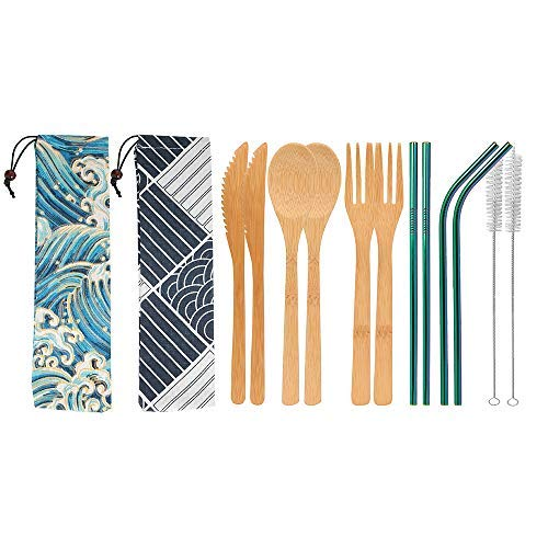 UPTRUST 2 Set Bamboo Cutlery Set Bamboo Utensils 6-piece Reusable Bamboo Flatware Set Travel Utensils 7.8 Inches Bamboo Knife, Fork, Spoon, 3 colors Metal Straw Portable Travel Set. (Rainbow Straw)