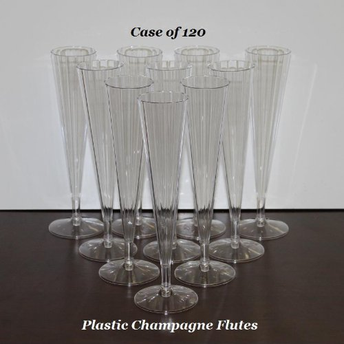 Clear Plastic Champagne Wedding Toasting Flutes (Case of 120) ()
