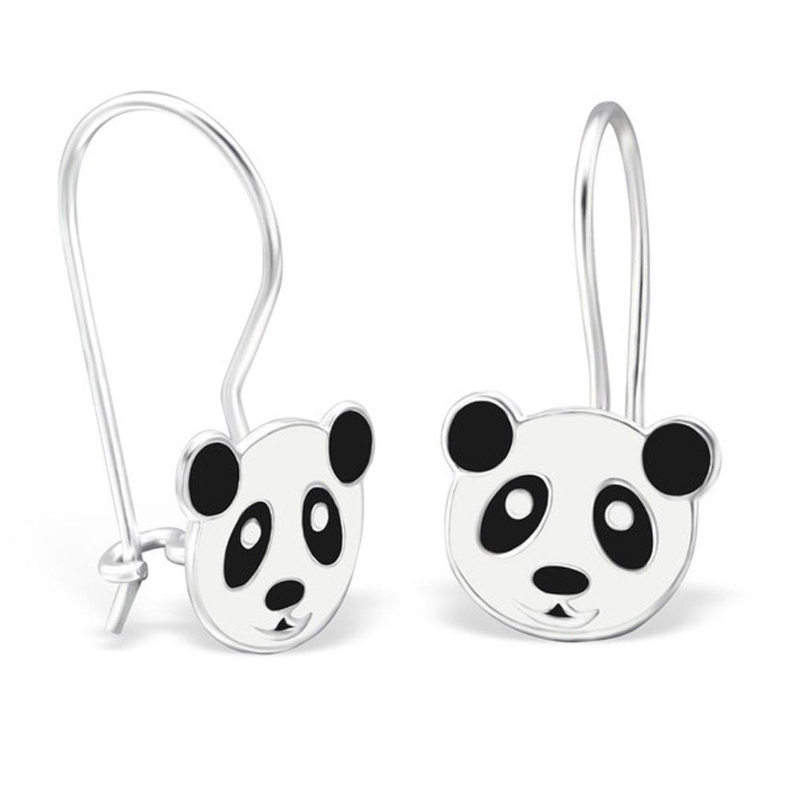 Cute Blak White Panda Bear Silver Earrings Dangle Girls 925 Stering Silver Nickle Free (28645)