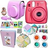 FujiFilm Instax Mini 8 Camera RASPBERRY + Accessories KIT for Fujifilm Instax Mini 8 Camera includes: Custom Mini 8 Case w/ Strap + Assorted Frames + Photo Album + Color Filters + Selfie Mirror +MORE