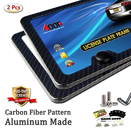 Carbon Fiber License Plate Frame (Black Metal) with Extra Stainless Steel Anti-theft Screws 45 Kit, EASY (Carbon Fiber License Plate Frame)