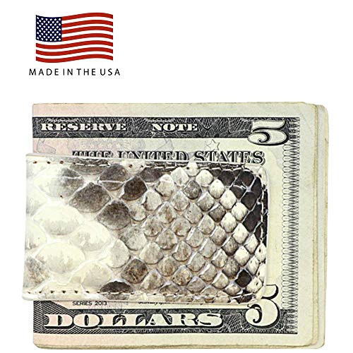Natural Color Genuine Python Snake Money Clip - Magnetic - American Factory Direct - Strong Shielded Magnets - Money Holder - Money Holder - Made in USA by Real Leather Creations FBA515 ()