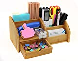 PAG Office Supplies Bamboo Desk Organizer Pen Holder Accessories Storage Caddy with Drawer, 7 Compartments, Natural