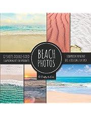 Beach Photos Scrapbook Paper Pad 8x8 Scrapbooking Kit for Papercrafts, Cardmaking, DIY Crafts, Summer Aesthetic Design, Multicolor