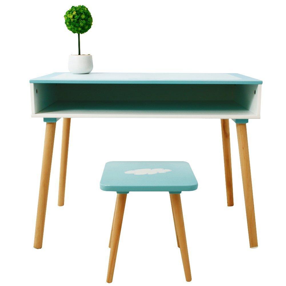 Labebe Kinder Holzmöbel Aktivität Tisch und Stuhl Set für 1-5 Jahre Alt Jungen und Mädchen - Ocean Blue