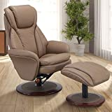 Comfort Chair by Mac Motion Norway Recliner and Ottoman in Sand Leather