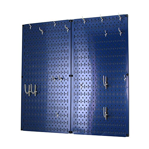 Wall Control Kitchen Pegboard Organizer Pots and Pans Pegboard Pack Storage and Organization Kit with Blue Pegboard and White Accessories]()
