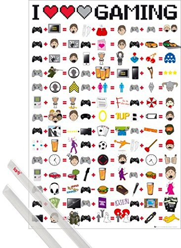 1art1 Poster + Hanger: Gaming Poster  I Love Gaming Icons An