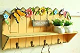 Better-Way 4 Hook Wood Shelf with Hooks Wall Mounted Country Rustic Entryway Organizer Coat Racks, Key Hooks Mail Holder Shelves