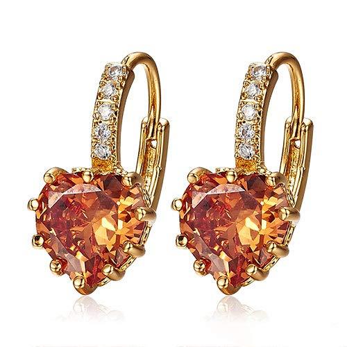 - Baost 1Pair 9K Gold Plated Luxury Shiny Rhinestone Drop Leverback Earrings Cubic Zirconia Crystal Diamond Love Heart Hoop Earring Jewelry Gift for Women Girls Random